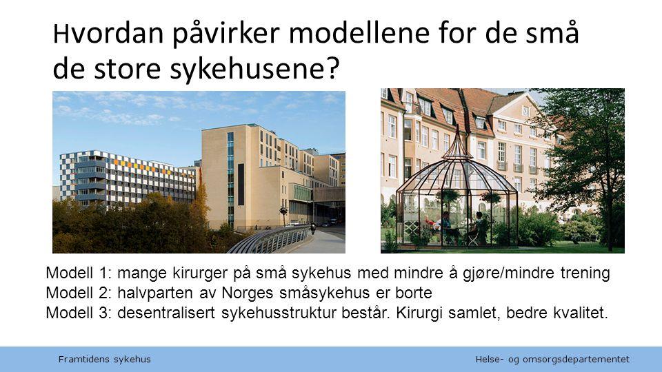 Helse- og omsorgsdepartementet Norsk mal: Tekst uten kulepunkt H vordan påvirker modellene for de små de store sykehusene? Modell 1: mange kirurger på