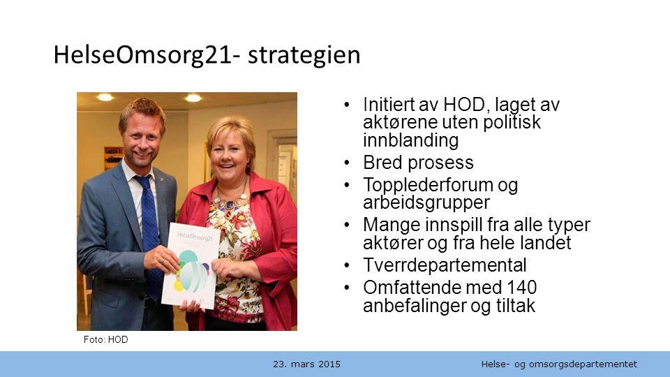 Helse- og omsorgsdepartementet Norsk mal: to innholdsdeler / sammenlikning HelseOmsorg21- strategien 23. mars 2015 Initiert av HOD, laget av aktørene