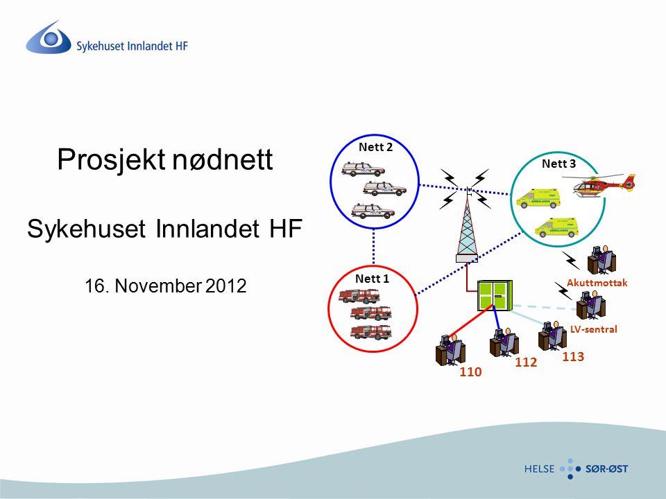 Prosjekt nødnett Sykehuset Innlandet HF 16. November 2012 110 Nett 1 112 Nett 2 113 Nett 3 LV-sentral Akuttmottak