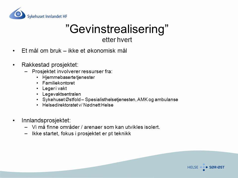 """""""Gevinstrealisering"""" etter hvert Et mål om bruk – ikke et økonomisk mål Rakkestad prosjektet: –Prosjektet involverer ressurser fra: Hjemmebaserte tjen"""