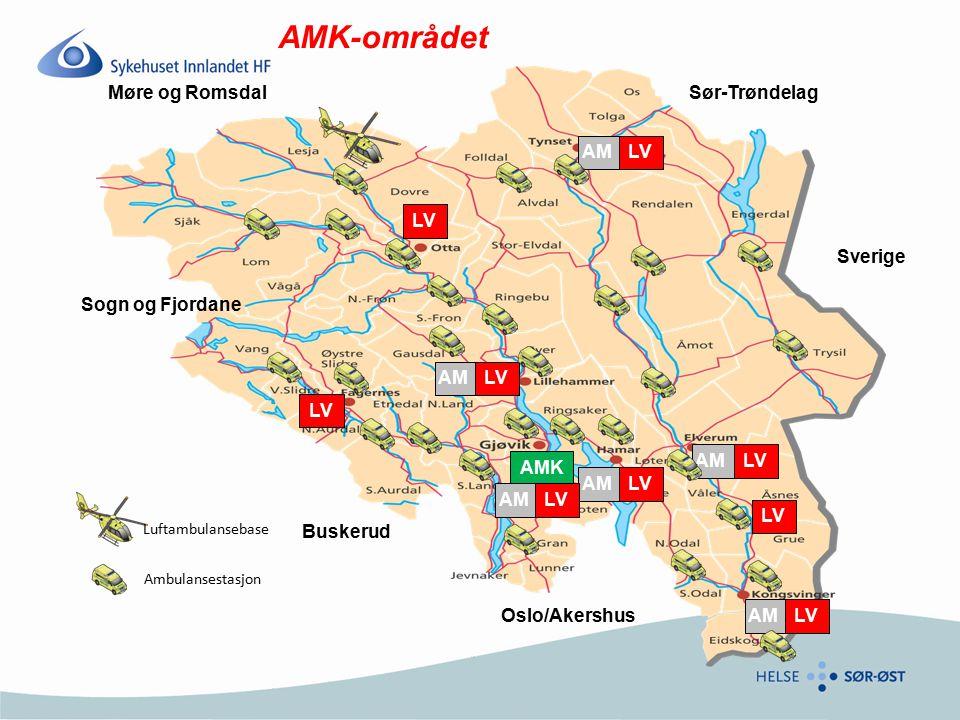 omfang 1 AMK 6 akuttmottak 52 ambulanser i beredskap (39 heldøgn) 18 reserve ambulanser (ca) ----------- 5 legevaktsentraler - lokalisert hos SI (tett samarbeid) 4 legevaktsentraler - kun rutinesamarbeid –Lillehammer –Solør –Nord Gudbrandsdalen –Valdres