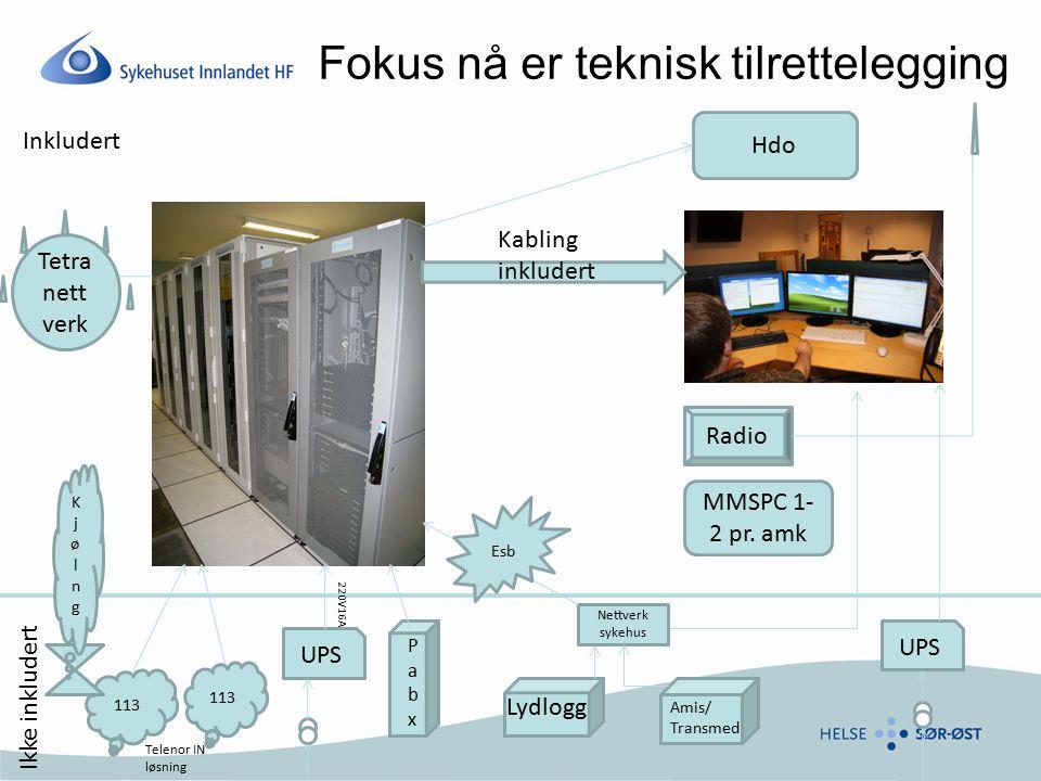 Fokus nå er teknisk tilrettelegging Kabling inkludert 113 Inkludert PabxPabx Lydlogg Ikke inkludert Amis/ Transmed Hdo Tetra nett verk UPS Radio MMSPC