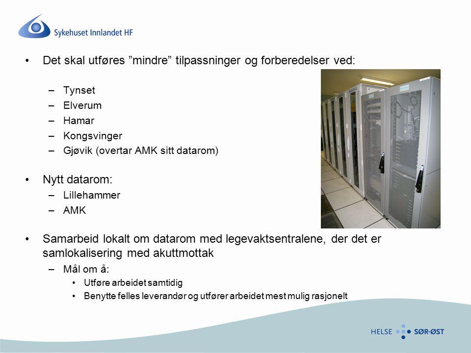 """Det skal utføres """"mindre"""" tilpassninger og forberedelser ved: –Tynset –Elverum –Hamar –Kongsvinger –Gjøvik (overtar AMK sitt datarom) Nytt datarom: –L"""