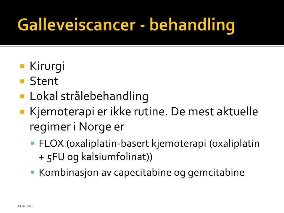  Kirurgi  Stent  Lokal strålebehandling  Kjemoterapi er ikke rutine. De mest aktuelle regimer i Norge er  FLOX (oxaliplatin-basert kjemoterapi (o