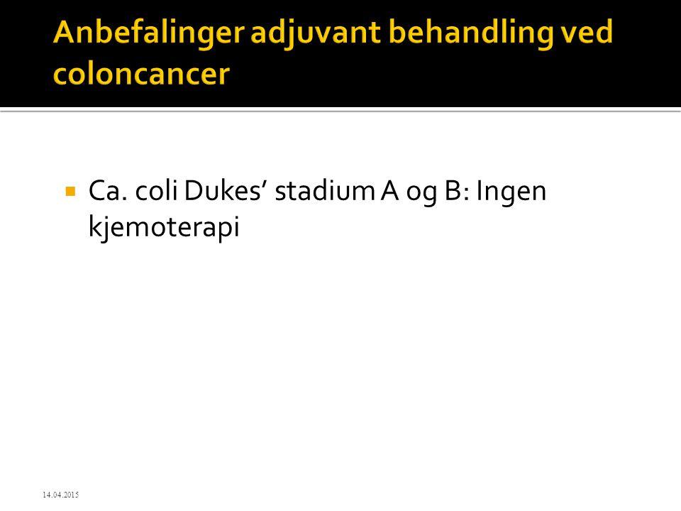  Ca. coli Dukes' stadium A og B: Ingen kjemoterapi 14.04.2015