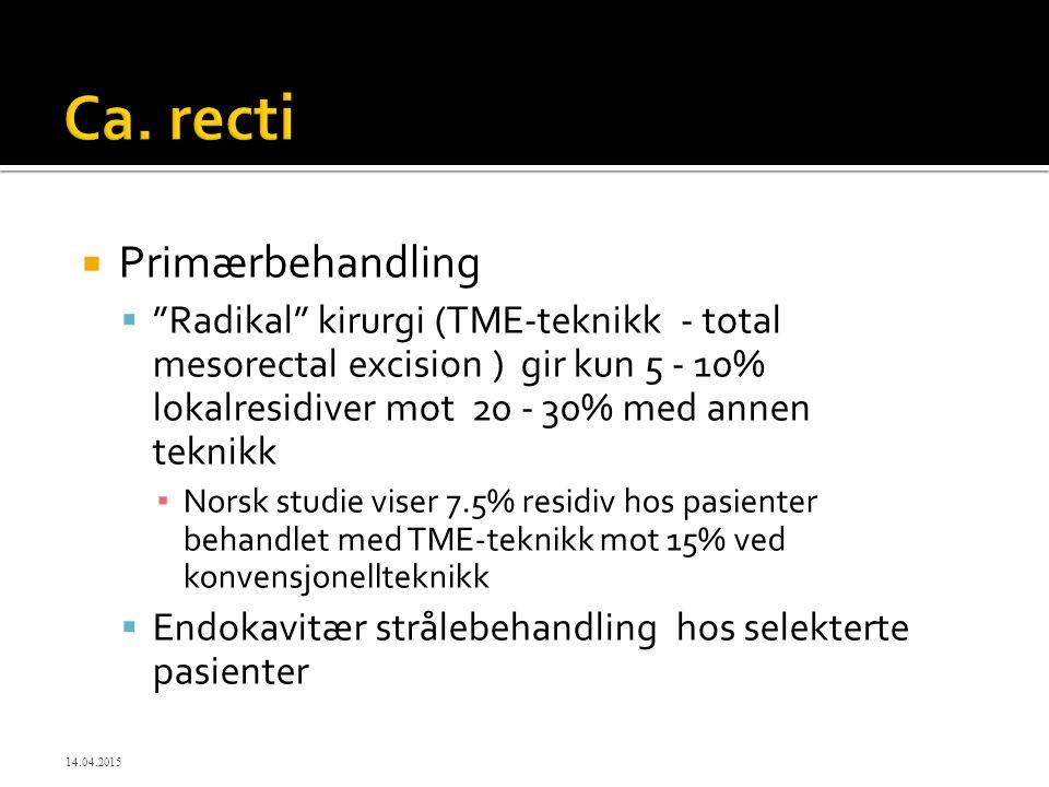 """ Primærbehandling  """"Radikal"""" kirurgi (TME-teknikk - total mesorectal excision ) gir kun 5 - 10% lokalresidiver mot 20 - 30% med annen teknikk ▪ Nors"""