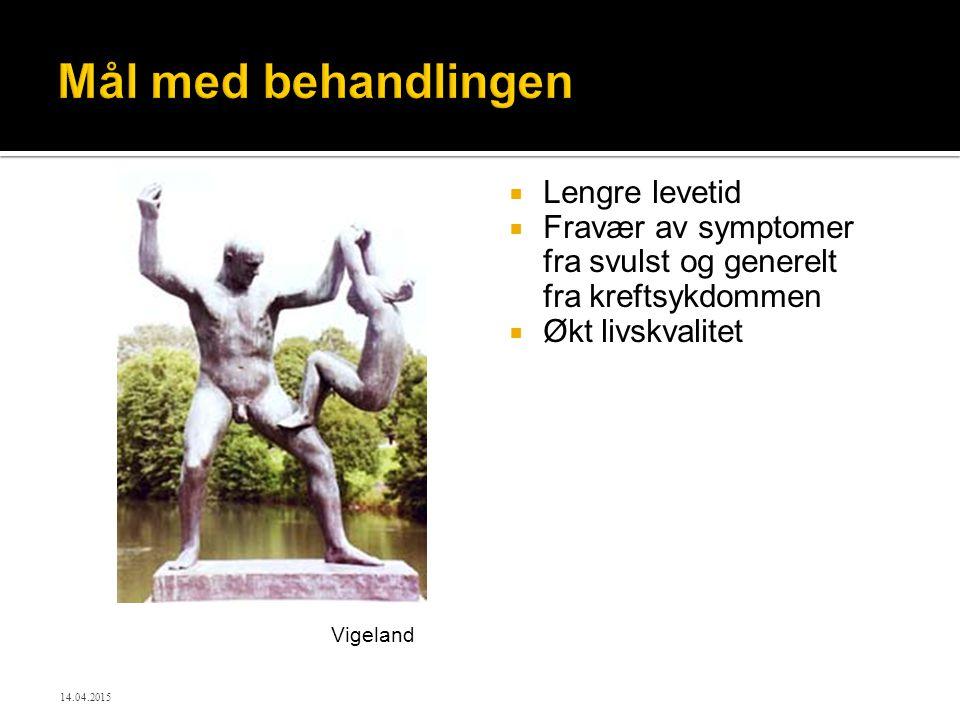 Mål med behandlingen  Lengre levetid  Fravær av symptomer fra svulst og generelt fra kreftsykdommen  Økt livskvalitet Vigeland 14.04.2015