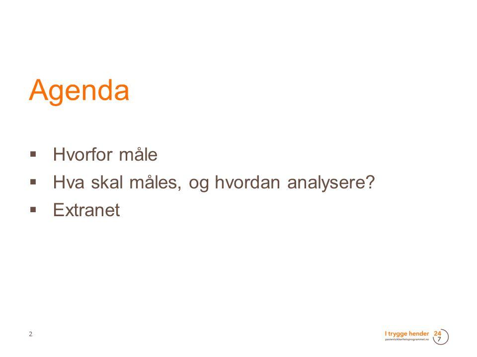 Agenda  Hvorfor måle  Hva skal måles, og hvordan analysere?  Extranet 2