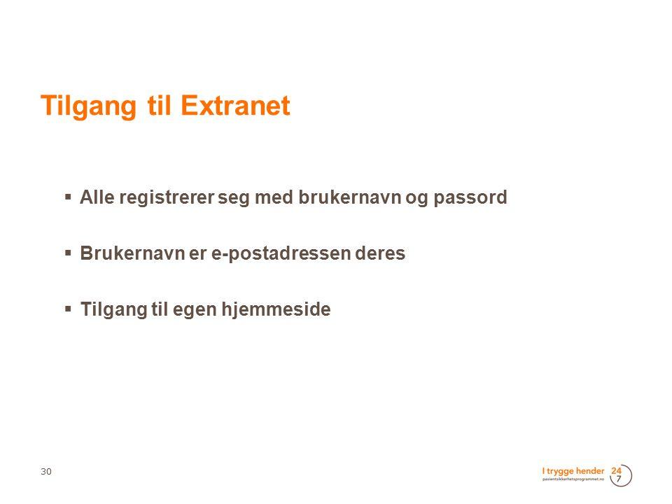  Alle registrerer seg med brukernavn og passord  Brukernavn er e-postadressen deres  Tilgang til egen hjemmeside 30  Tilgang til Extranet