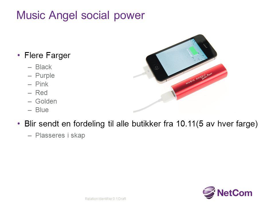 Music Angel social power Flere Farger –Black –Purple –Pink –Red –Golden –Blue Blir sendt en fordeling til alle butikker fra 10.11(5 av hver farge) –Pl