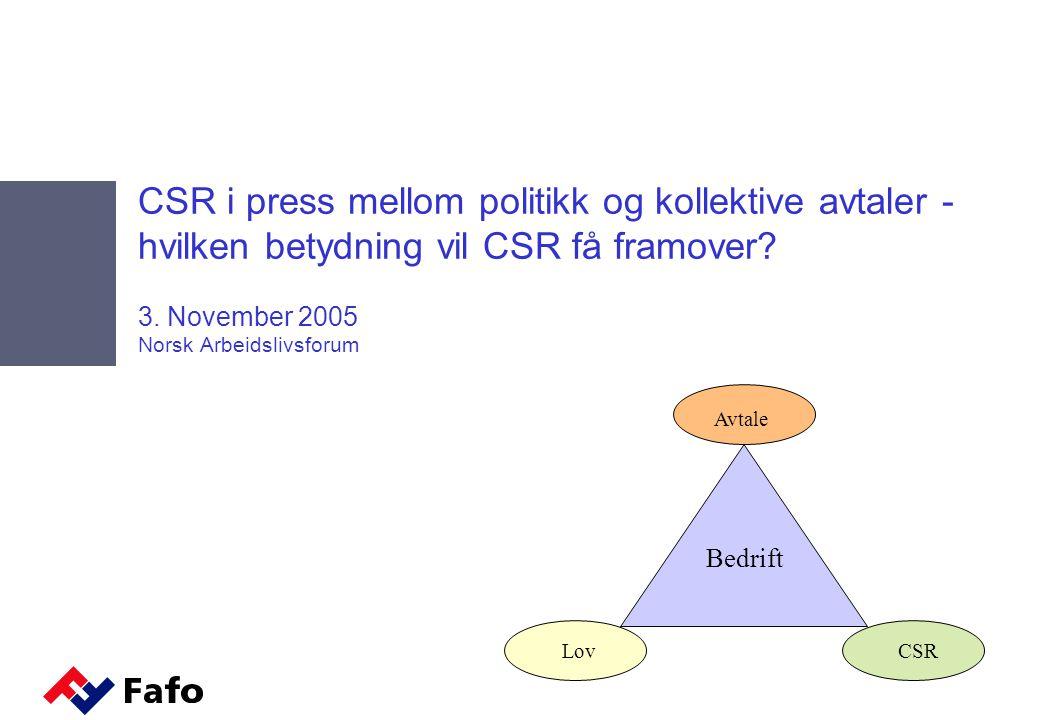 CSR i press mellom politikk og kollektive avtaler - hvilken betydning vil CSR få framover.