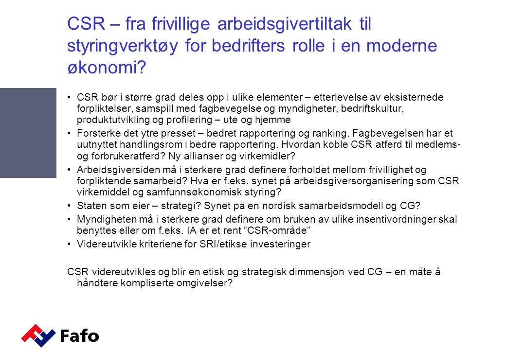 CSR – fra frivillige arbeidsgivertiltak til styringverktøy for bedrifters rolle i en moderne økonomi.