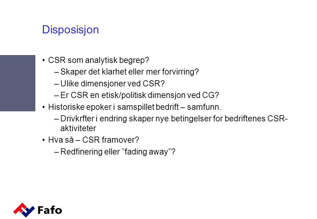 Disposisjon CSR som analytisk begrep. –Skaper det klarhet eller mer forvirring.