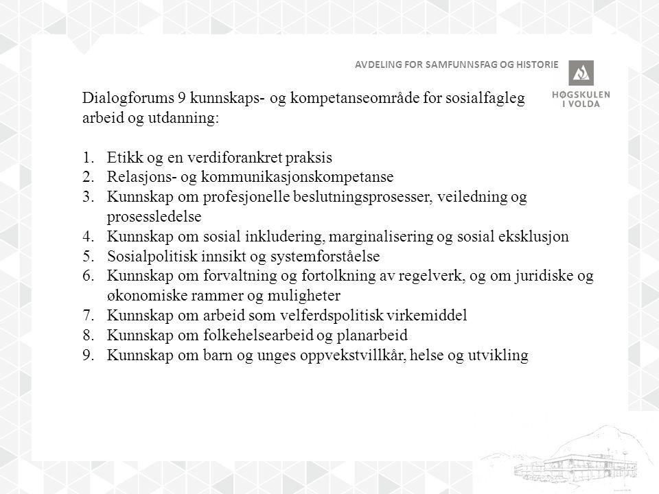 AVDELING FOR SAMFUNNSFAG OG HISTORIE Dialogforums 9 kunnskaps- og kompetanseområde for sosialfagleg arbeid og utdanning: 1.Etikk og en verdiforankret praksis 2.Relasjons- og kommunikasjonskompetanse 3.Kunnskap om profesjonelle beslutningsprosesser, veiledning og prosessledelse 4.Kunnskap om sosial inkludering, marginalisering og sosial eksklusjon 5.Sosialpolitisk innsikt og systemforståelse 6.Kunnskap om forvaltning og fortolkning av regelverk, og om juridiske og økonomiske rammer og muligheter 7.Kunnskap om arbeid som velferdspolitisk virkemiddel 8.Kunnskap om folkehelsearbeid og planarbeid 9.Kunnskap om barn og unges oppvekstvillkår, helse og utvikling