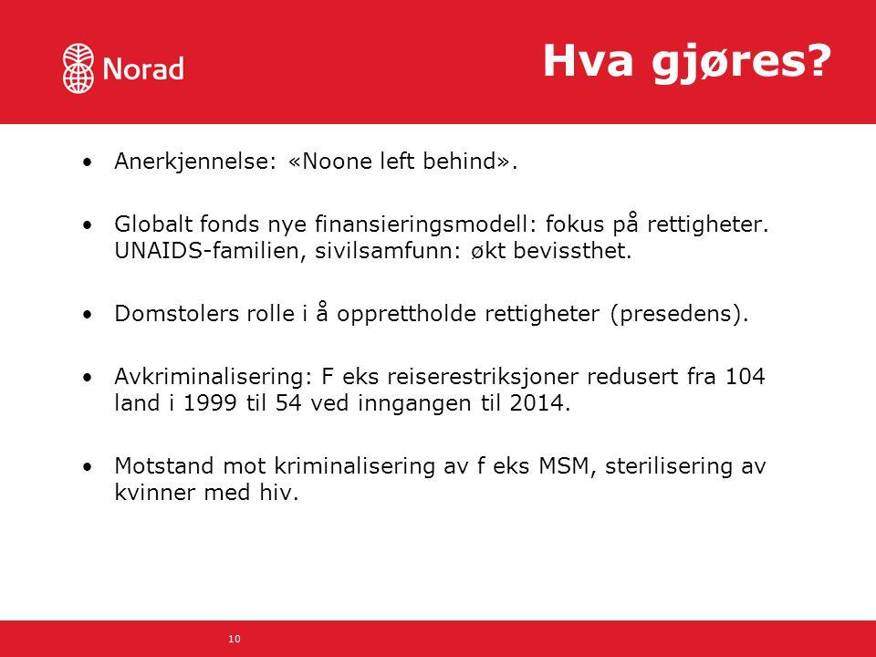 Hva gjøres? Anerkjennelse: «Noone left behind». Globalt fonds nye finansieringsmodell: fokus på rettigheter. UNAIDS-familien, sivilsamfunn: økt beviss