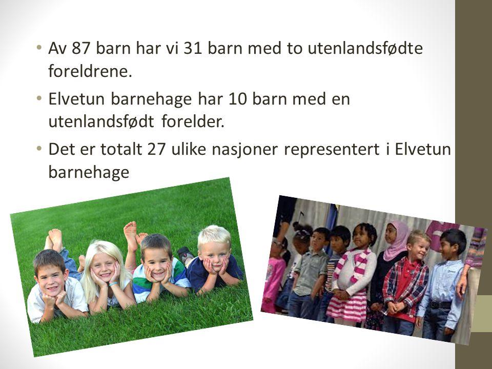 Av 87 barn har vi 31 barn med to utenlandsfødte foreldrene. Elvetun barnehage har 10 barn med en utenlandsfødt forelder. Det er totalt 27 ulike nasjon