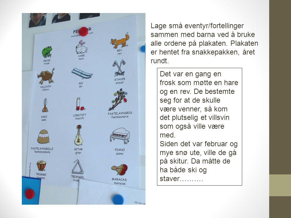 Lage små eventyr/fortellinger sammen med barna ved å bruke alle ordene på plakaten. Plakaten er hentet fra snakkepakken, året rundt. Det var en gang e