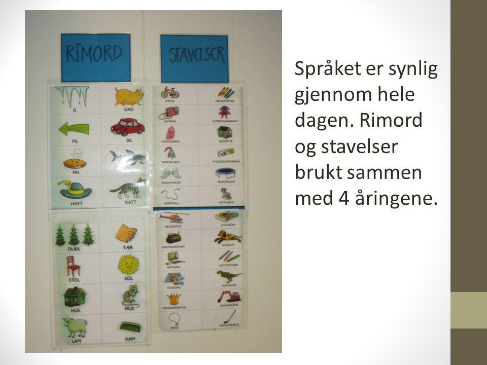 Språket er synlig gjennom hele dagen. Rimord og stavelser brukt sammen med 4 åringene.