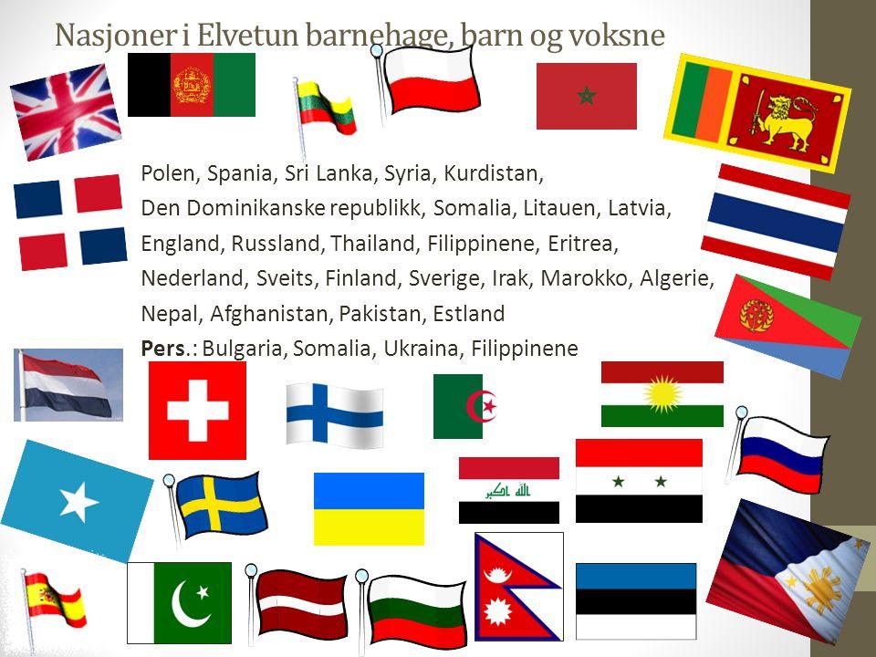 Nasjoner i Elvetun barnehage, barn og voksne Polen, Spania, Sri Lanka, Syria, Kurdistan, Den Dominikanske republikk, Somalia, Litauen, Latvia, England