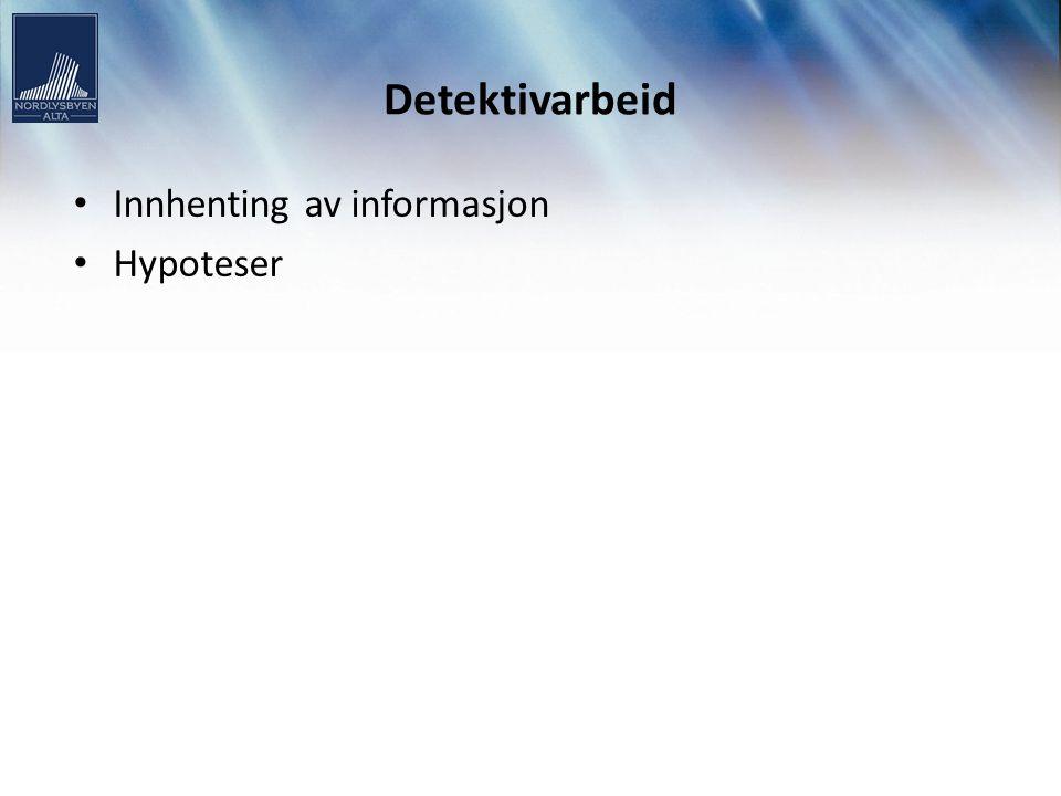 Detektivarbeid Innhenting av informasjon Hypoteser