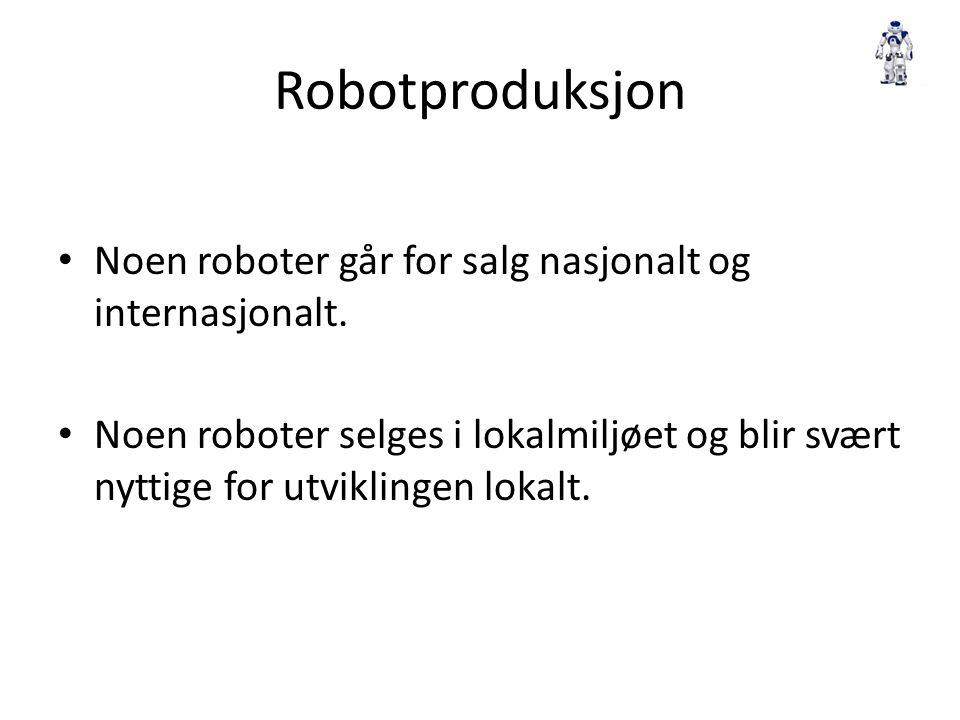 Robotproduksjon Noen roboter går for salg nasjonalt og internasjonalt. Noen roboter selges i lokalmiljøet og blir svært nyttige for utviklingen lokalt