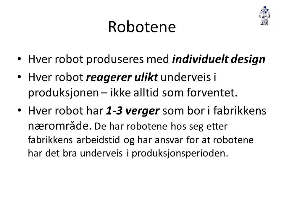 Robotene Hver robot produseres med individuelt design Hver robot reagerer ulikt underveis i produksjonen – ikke alltid som forventet. Hver robot har 1