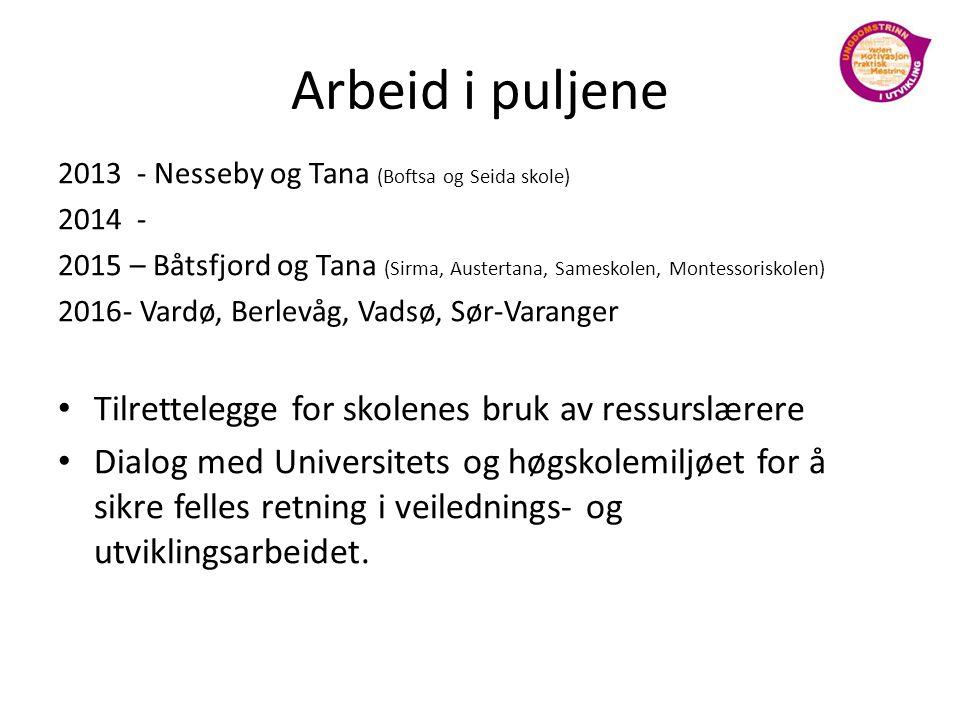 Arbeid i puljene 2013 - Nesseby og Tana (Boftsa og Seida skole) 2014 - 2015 – Båtsfjord og Tana (Sirma, Austertana, Sameskolen, Montessoriskolen) 2016