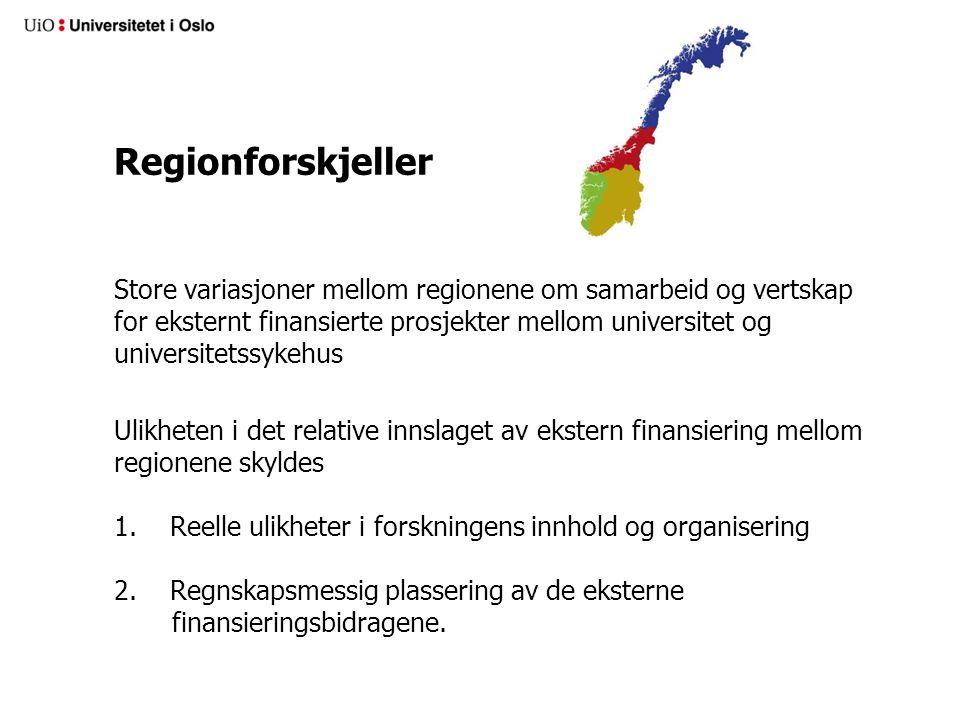 Regionforskjeller Store variasjoner mellom regionene om samarbeid og vertskap for eksternt finansierte prosjekter mellom universitet og universitetssykehus Ulikheten i det relative innslaget av ekstern finansiering mellom regionene skyldes 1.