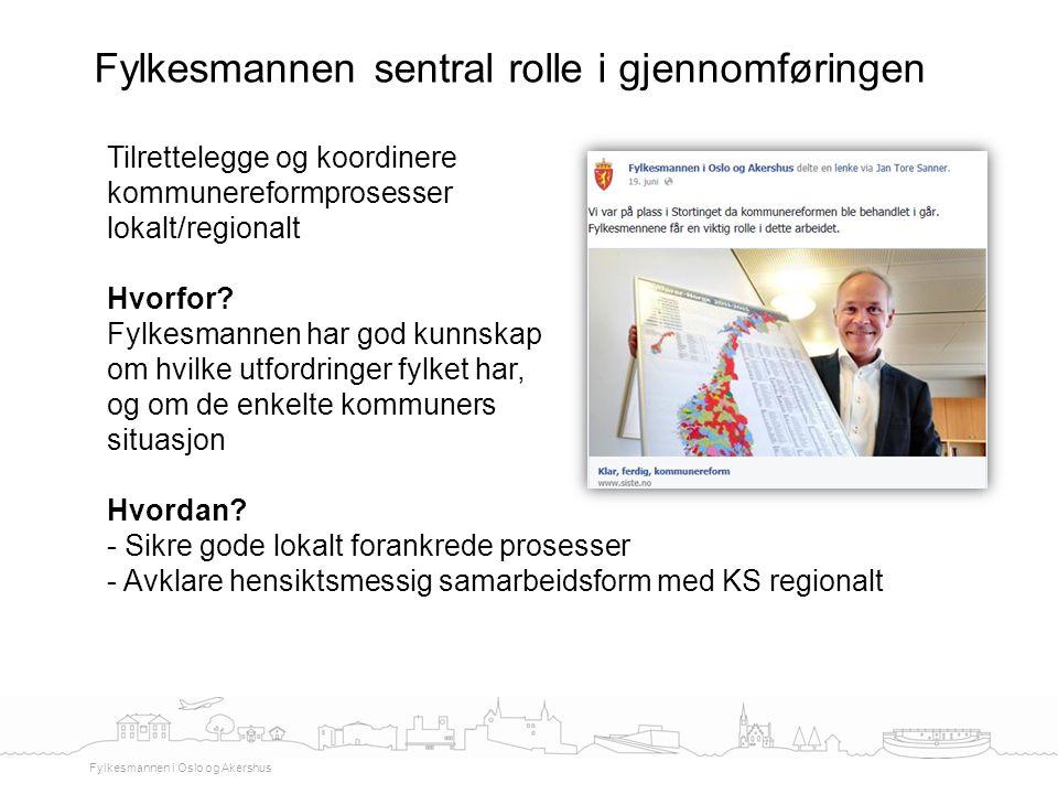 Fylkesmannen sentral rolle i gjennomføringen Fylkesmannen i Oslo og Akershus Tilrettelegge og koordinere kommunereformprosesser lokalt/regionalt Hvorf