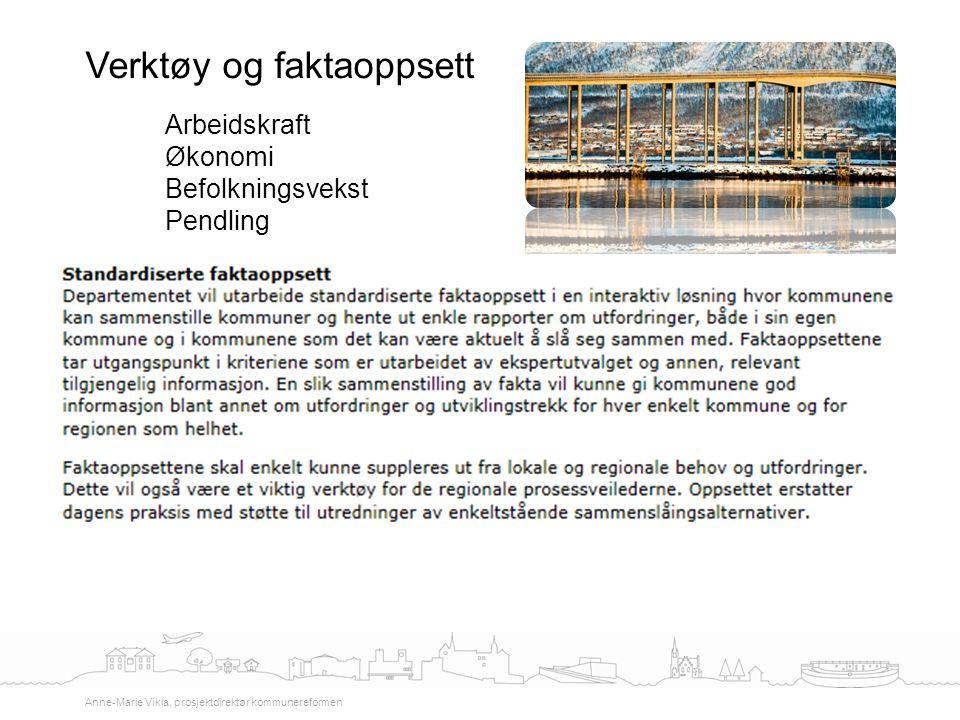 Verktøy og faktaoppsett Anne-Marie Vikla, prosjektdirektør kommunereformen Arbeidskraft Økonomi Befolkningsvekst Pendling