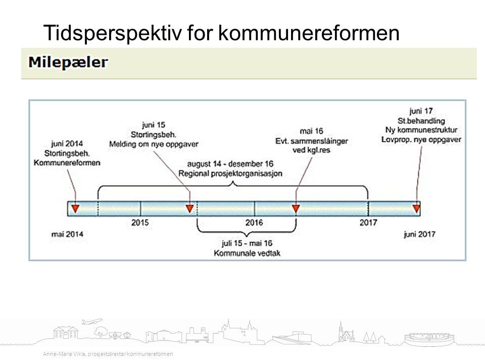 Tidsperspektiv for kommunereformen Anne-Marie Vikla, prosjektdirektør kommunereformen