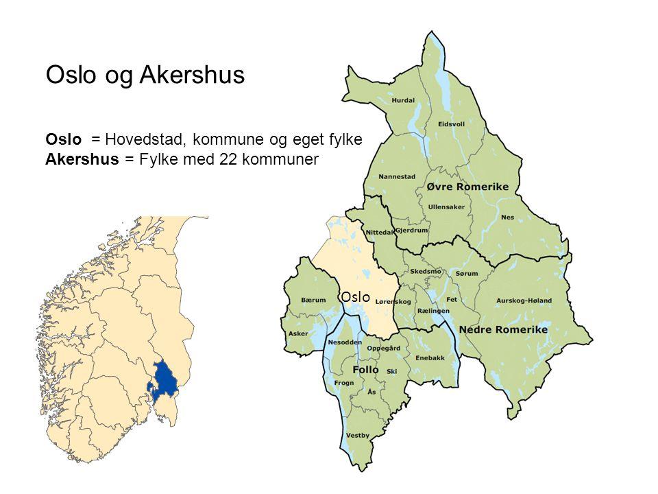 Oslo Oslo og Akershus Oslo = Hovedstad, kommune og eget fylke Akershus = Fylke med 22 kommuner