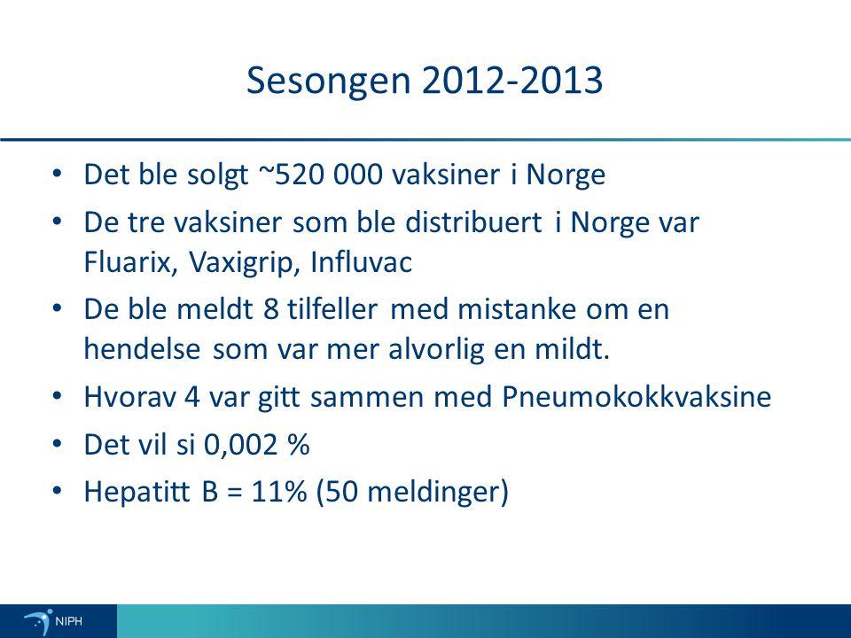 Sesongen 2012-2013 Det ble solgt ~520 000 vaksiner i Norge De tre vaksiner som ble distribuert i Norge var Fluarix, Vaxigrip, Influvac De ble meldt 8 tilfeller med mistanke om en hendelse som var mer alvorlig en mildt.