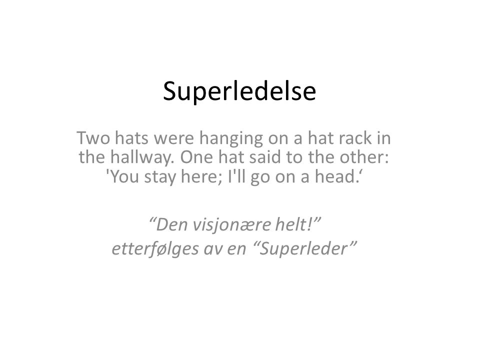 Superledelse Two hats were hanging on a hat rack in the hallway.