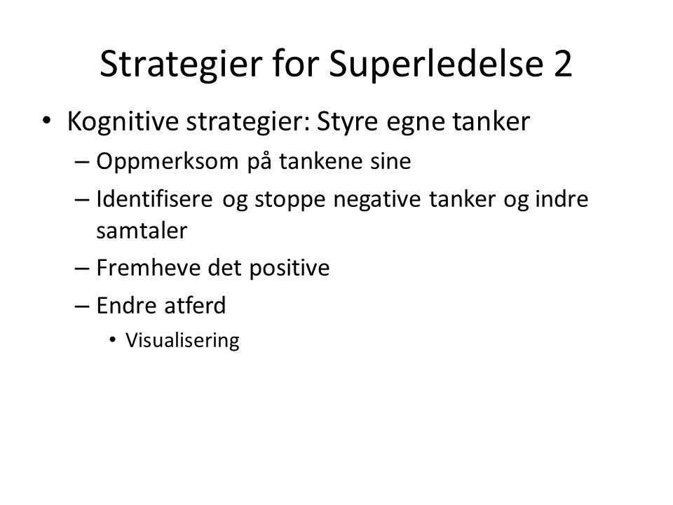 Strategier for Superledelse 2 Kognitive strategier: Styre egne tanker – Oppmerksom på tankene sine – Identifisere og stoppe negative tanker og indre s