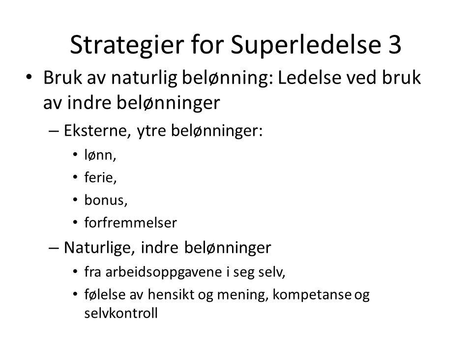 Strategier for Superledelse 3 Bruk av naturlig belønning: Ledelse ved bruk av indre belønninger – Eksterne, ytre belønninger: lønn, ferie, bonus, forf