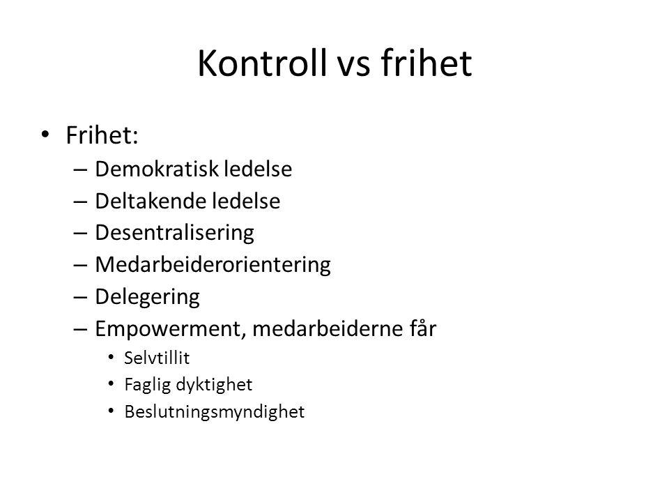 Kontroll vs frihet Frihet: – Demokratisk ledelse – Deltakende ledelse – Desentralisering – Medarbeiderorientering – Delegering – Empowerment, medarbei