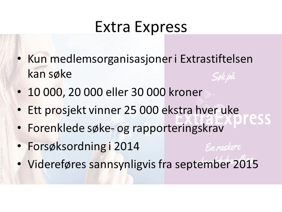 Extra Express Kun medlemsorganisasjoner i Extrastiftelsen kan søke 10 000, 20 000 eller 30 000 kroner Ett prosjekt vinner 25 000 ekstra hver uke Foren