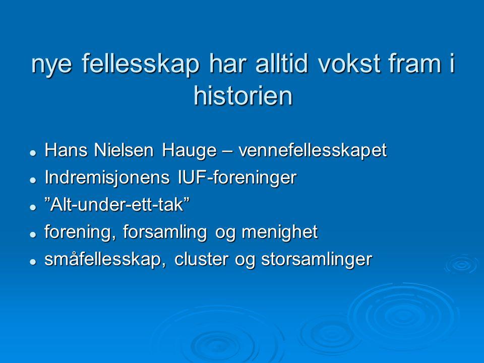 nye fellesskap har alltid vokst fram i historien Hans Nielsen Hauge – vennefellesskapet Hans Nielsen Hauge – vennefellesskapet Indremisjonens IUF-foreninger Indremisjonens IUF-foreninger Alt-under-ett-tak Alt-under-ett-tak forening, forsamling og menighet forening, forsamling og menighet småfellesskap, cluster og storsamlinger småfellesskap, cluster og storsamlinger