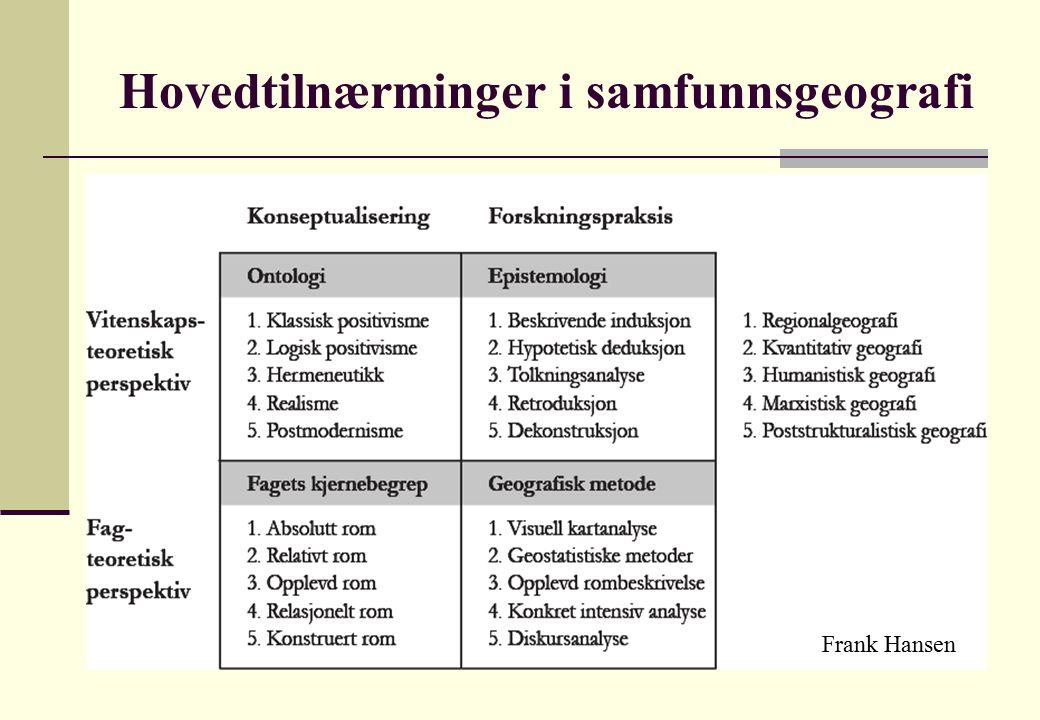 Hovedtilnærminger i samfunnsgeografi Frank Hansen