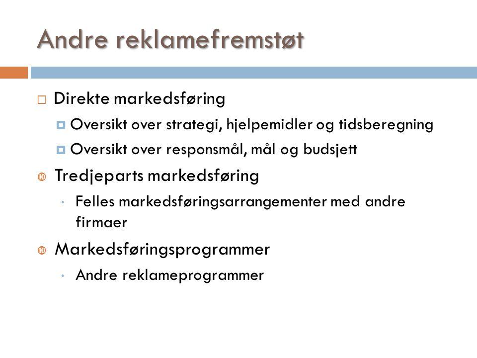 Andre reklamefremstøt  Direkte markedsføring  Oversikt over strategi, hjelpemidler og tidsberegning  Oversikt over responsmål, mål og budsjett  Tr