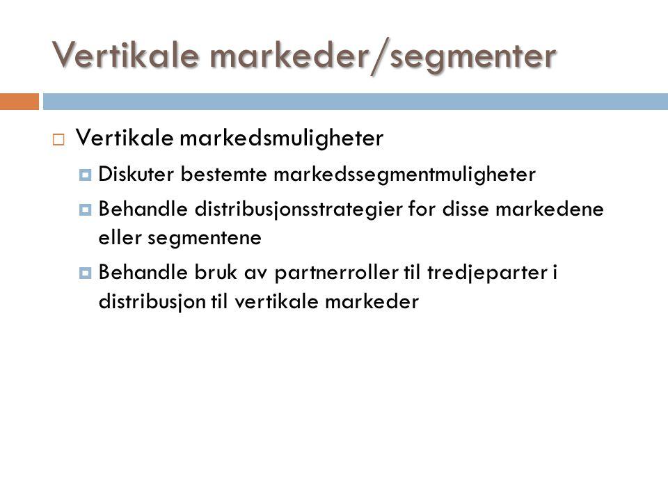Vertikale markeder/segmenter  Vertikale markedsmuligheter  Diskuter bestemte markedssegmentmuligheter  Behandle distribusjonsstrategier for disse m