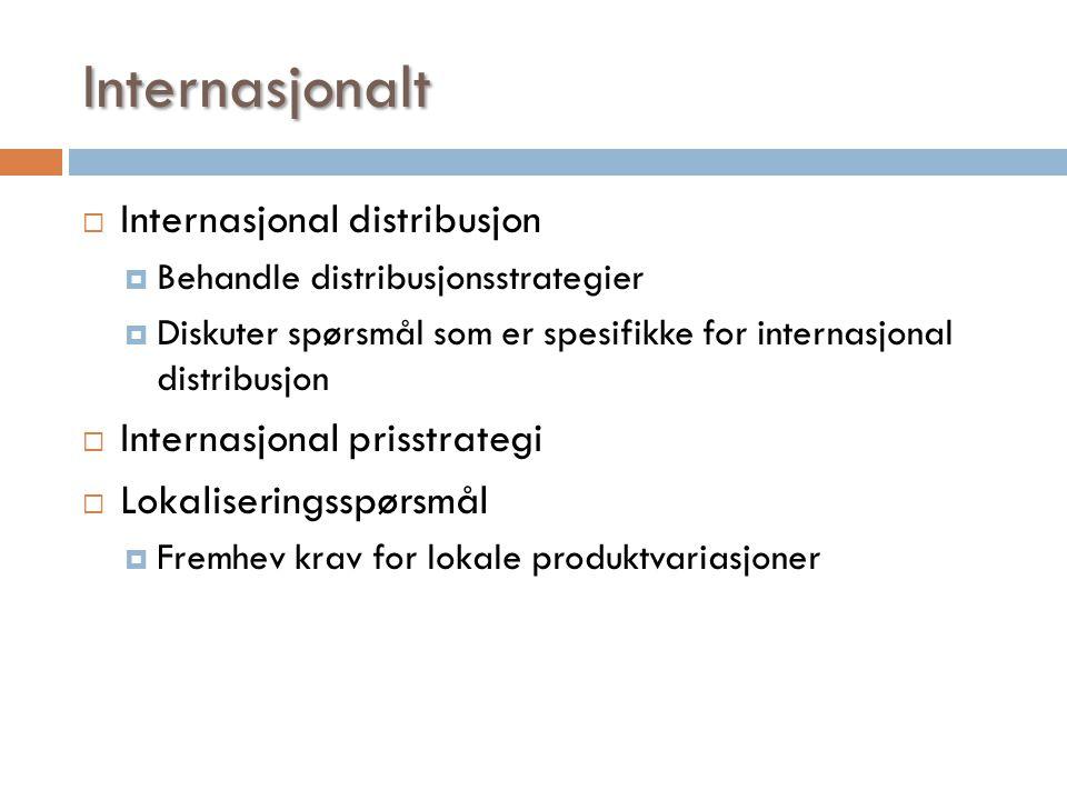 Internasjonalt  Internasjonal distribusjon  Behandle distribusjonsstrategier  Diskuter spørsmål som er spesifikke for internasjonal distribusjon 
