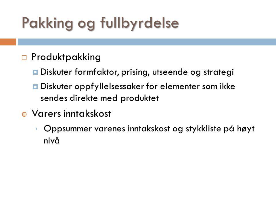 Pakking og fullbyrdelse  Produktpakking  Diskuter formfaktor, prising, utseende og strategi  Diskuter oppfyllelsessaker for elementer som ikke send