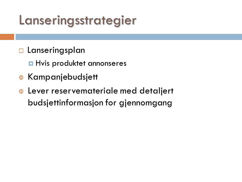 Lanseringsstrategier  Lanseringsplan  Hvis produktet annonseres  Kampanjebudsjett  Lever reservemateriale med detaljert budsjettinformasjon for gj