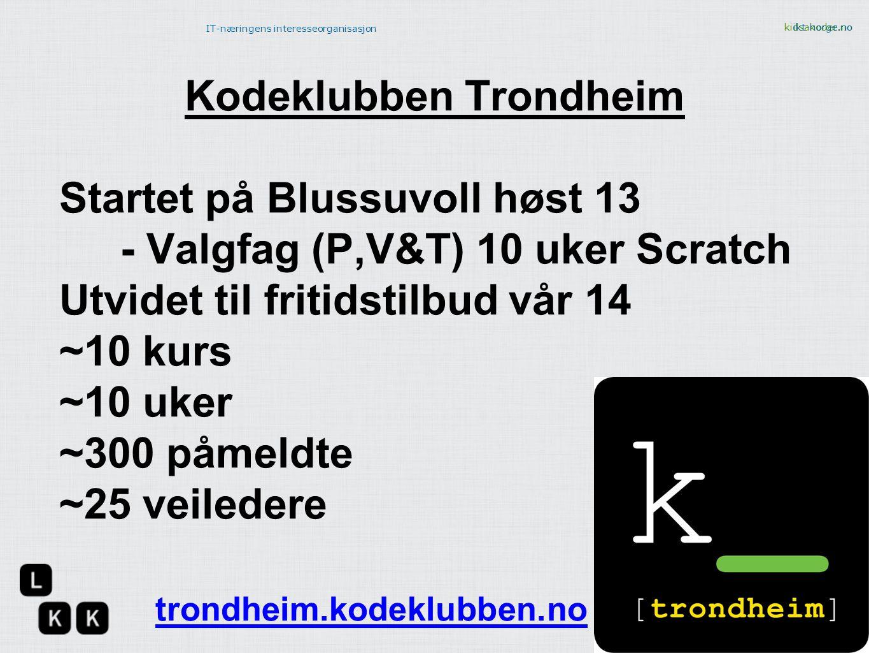 kidsakoder.no IT-næringens interesseorganisasjon ikt-norge.no Kodeklubben Trondheim Startet på Blussuvoll høst 13 - Valgfag (P,V&T) 10 uker Scratch Ut