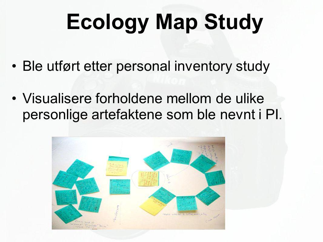 Ecology Map Study Ble utført etter personal inventory study Visualisere forholdene mellom de ulike personlige artefaktene som ble nevnt i PI.