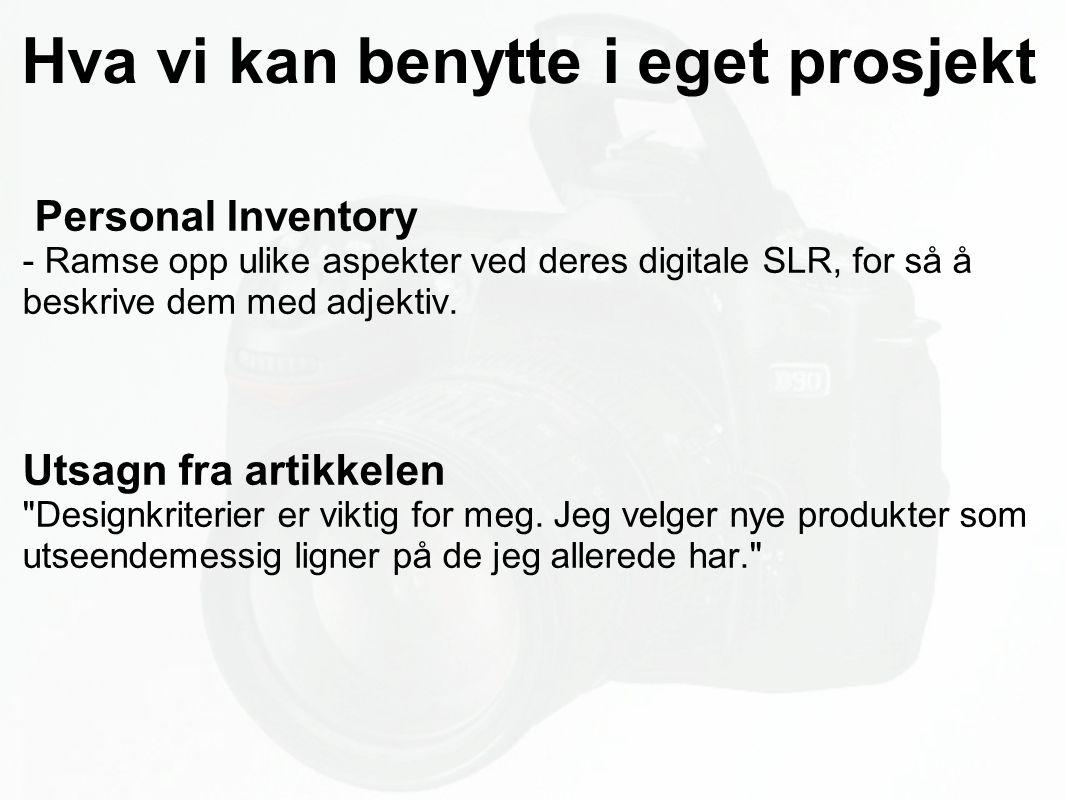 Hva vi kan benytte i eget prosjekt Personal Inventory - Ramse opp ulike aspekter ved deres digitale SLR, for så å beskrive dem med adjektiv.