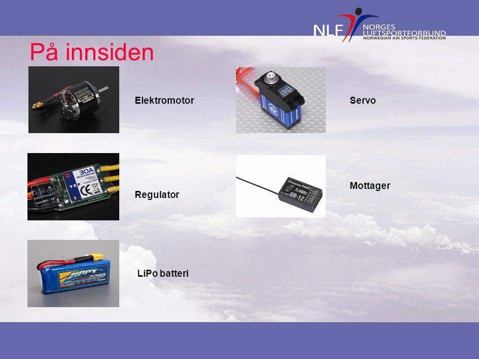 På innsiden Elektromotor Regulator LiPo batteri Servo Mottager
