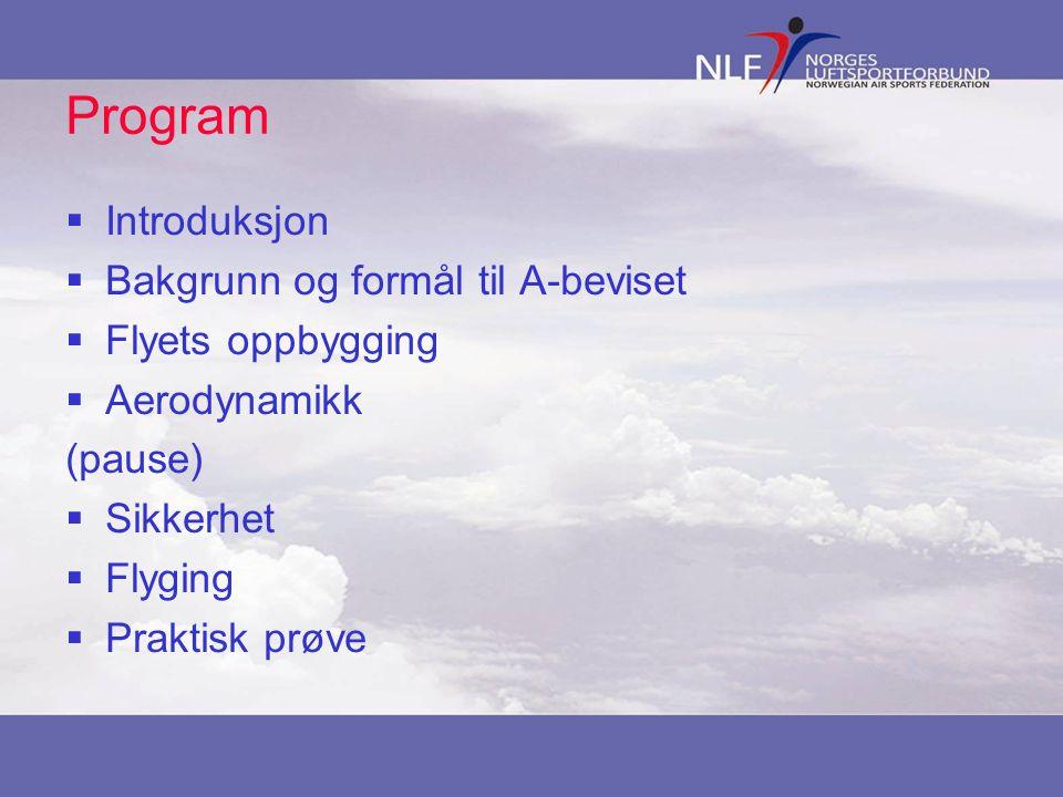 Program  Introduksjon  Bakgrunn og formål til A-beviset  Flyets oppbygging  Aerodynamikk (pause)  Sikkerhet  Flyging  Praktisk prøve